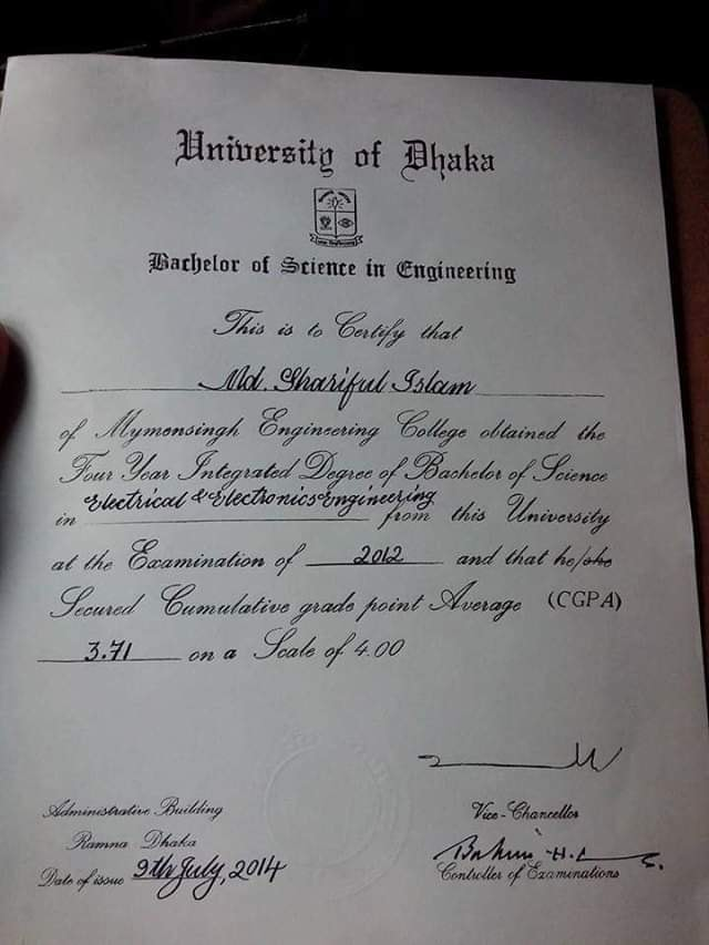 DUTECH Certificate