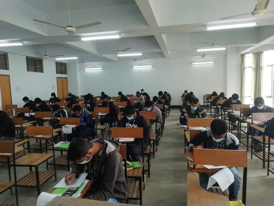 Students study exam admission